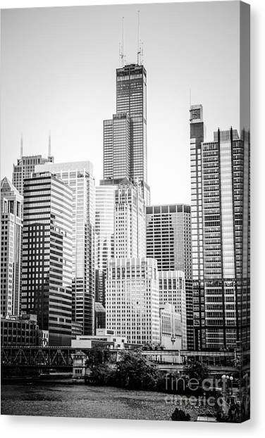 Chicago Black White Canvas Print - Chicago With Sears Willis Tower In Black And White by Paul Velgos