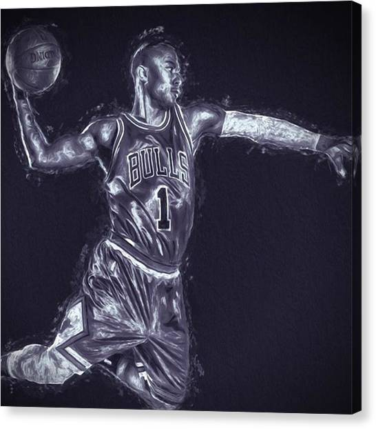 Basketball Canvas Print - #chicagobulls #chicago #bulls #rose by David Haskett II
