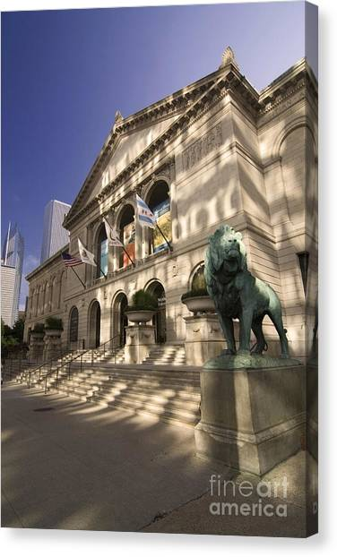 Chicago's Art Institute In Reflected Light. Canvas Print