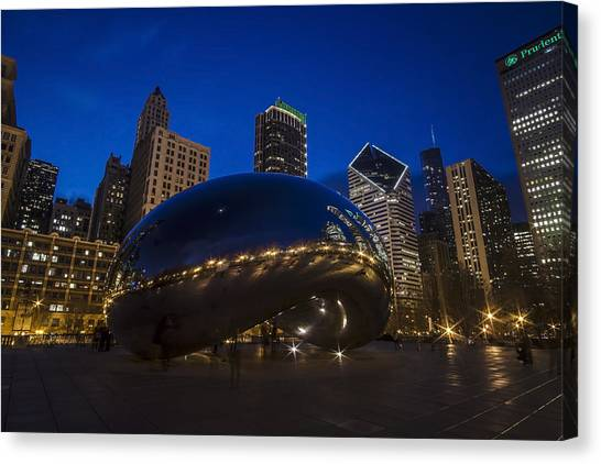 Cloudgate Canvas Print - Chicago's Bean At Blue Hour  by Sven Brogren