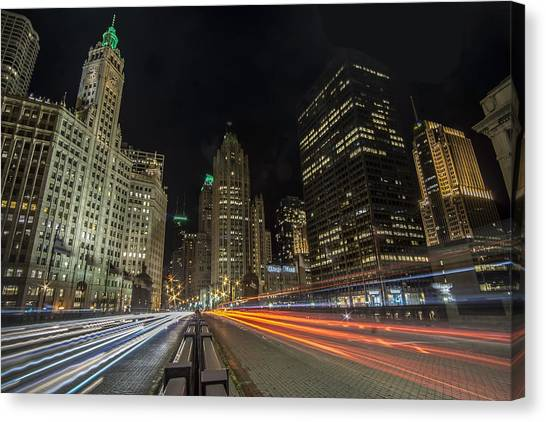 Chicago's Mag Mile Night Streaks Canvas Print