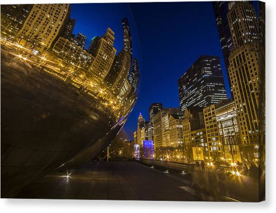 Chicago's Millenium Park At Dusk Canvas Print
