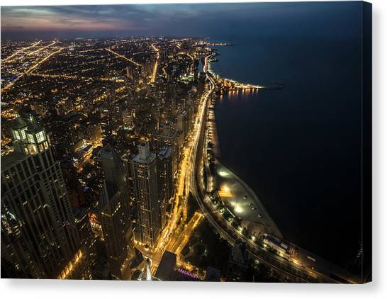 Chicago's North Side From Above At Night  Canvas Print