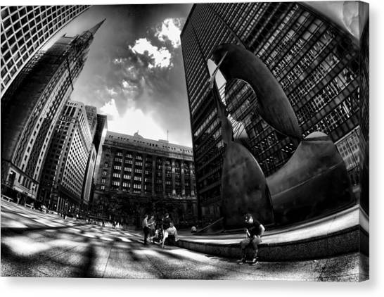Chicago's Picasso With A Fisheye View Canvas Print