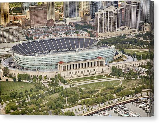 Soldier Field Canvas Print - Chicago's Soldier Field Aerial by Adam Romanowicz