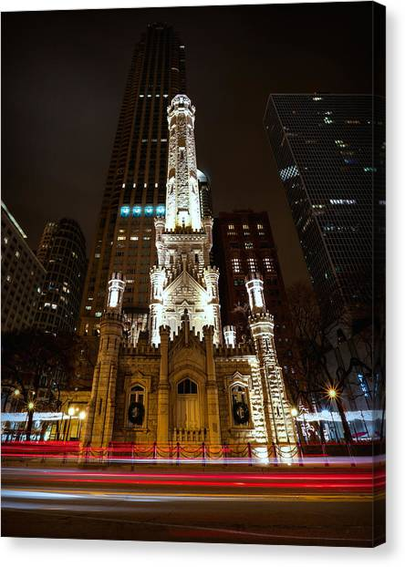 Chicago Fire Canvas Print - Chicago's Water Tower by Ryan Smith