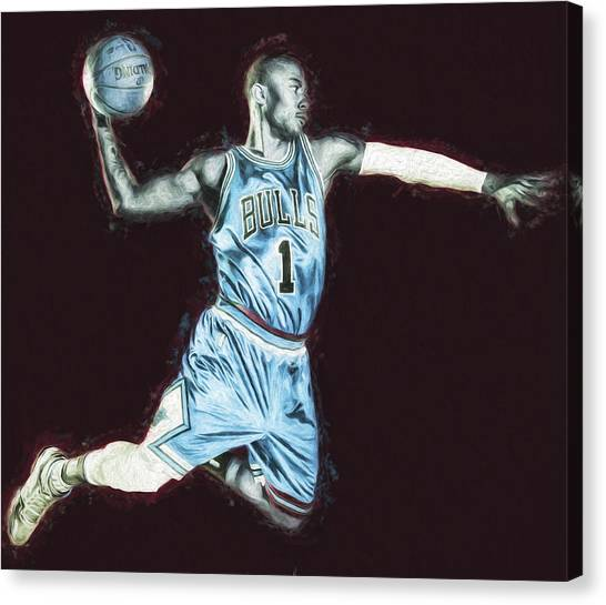 Strikeout Canvas Print - Chicao Bulls Derrick Rose Painted Digitally Blue by David Haskett