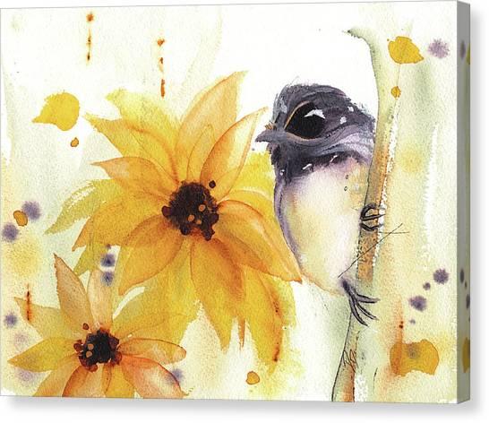 Chickadee And Sunflowers Canvas Print