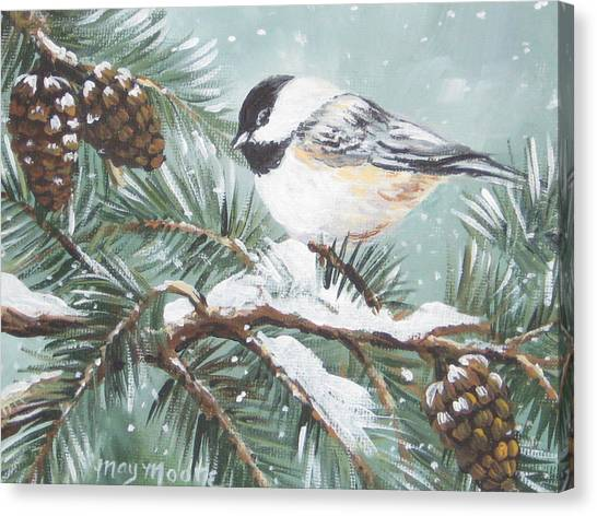 Chickadee Canvas Print by May Moore
