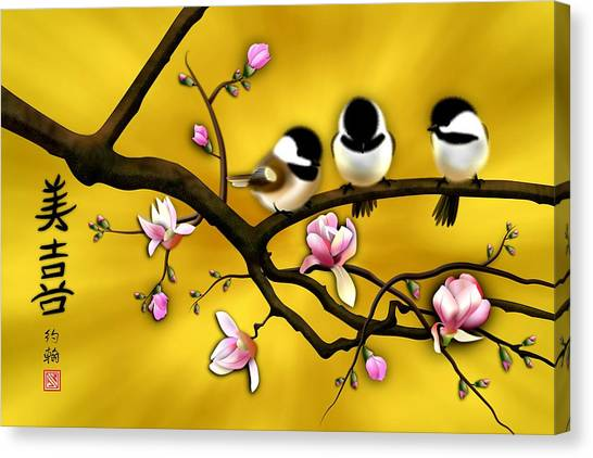 Chickadee On Blooming Magnolia Branch Canvas Print