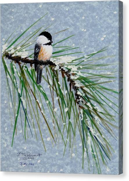 Chickadee Set 8 - Bird 1 - Snow Chickadees Canvas Print