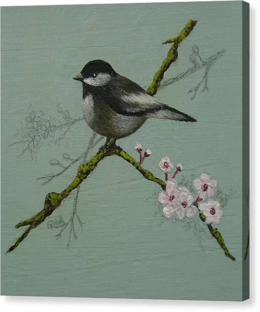 Chickadee Canvas Print by Victoria Heryet