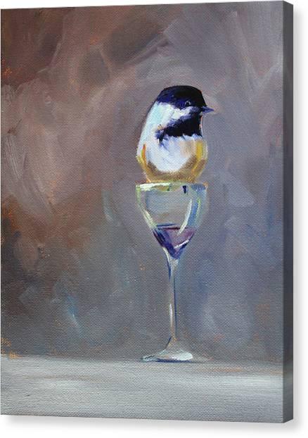 Chickadees Canvas Print - Chickadee Wine by Nancy Merkle