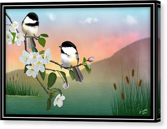 Chickadees And Apple Blossoms Canvas Print