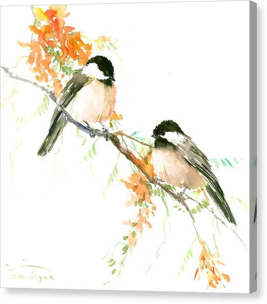 Chickadees And Orange Flowers Canvas Print