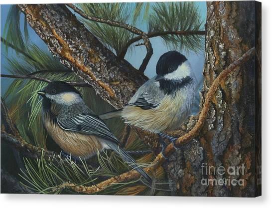 Chickadees Canvas Print