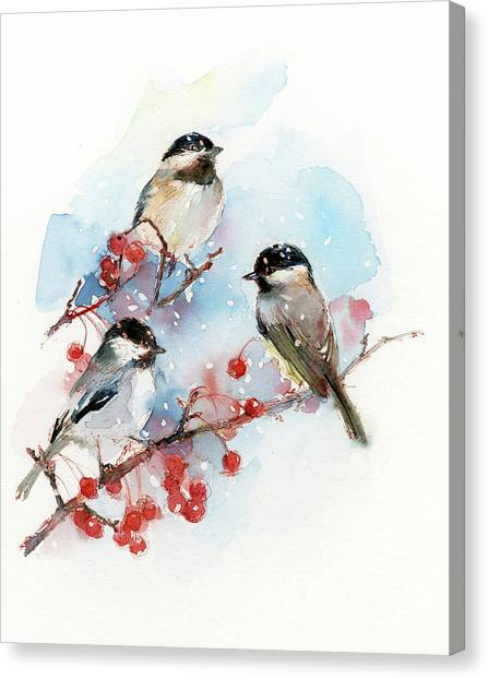 Wild Berries Canvas Print - Chickadees With Berries by John Keeling