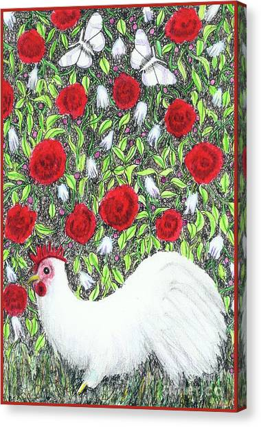 Chicken And Butterflies In The Flowers Canvas Print