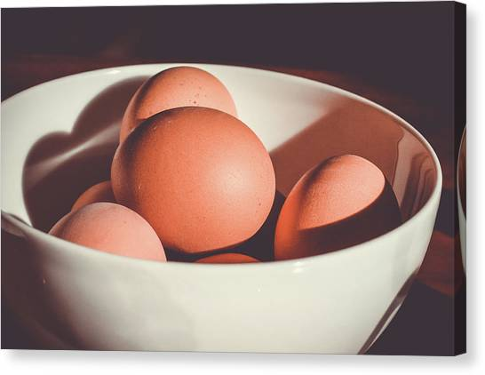 Spring Canvas Print - Chicken Eggs by Happy Home Artistry