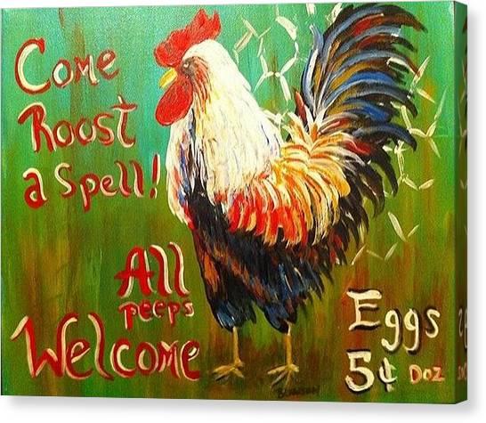 Chicken Welcome 3 Canvas Print