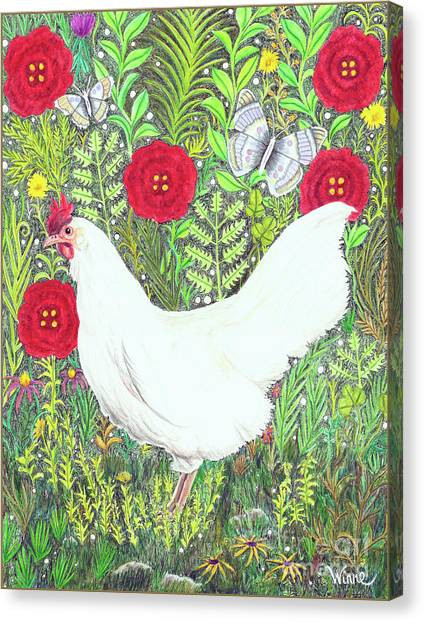 Chicken With Millefleurs And Butterflies  Canvas Print