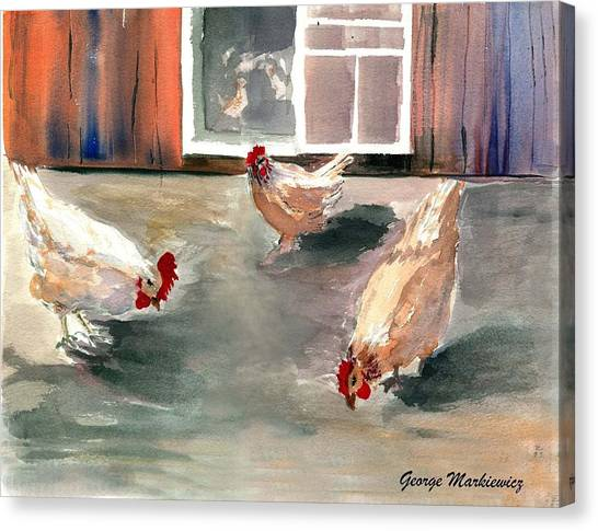 Chickens In The Barnyard Canvas Print by George Markiewicz