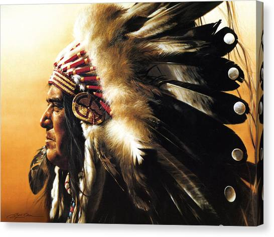 Indians Canvas Print - Chief by Greg Olsen