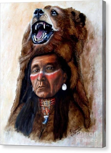 Bear Claws Canvas Print - Chief Running Bear by Amanda Hukill