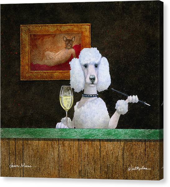 Poodles Canvas Print - Chien Blanc... by Will Bullas