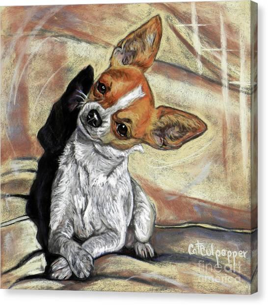 Head Tilt Canvas Print - Chihuahua by Cat Culpepper
