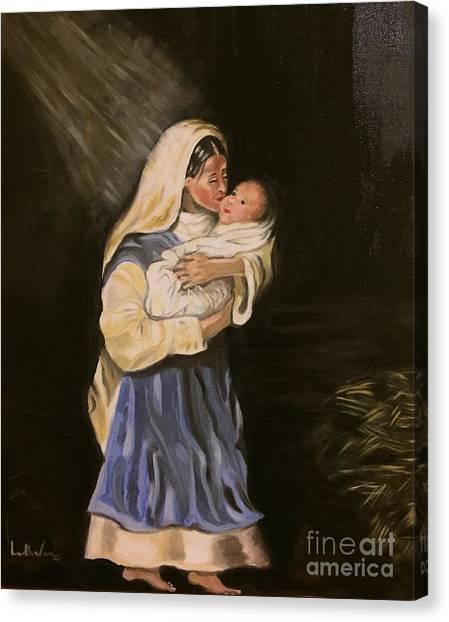 Child In Manger Canvas Print