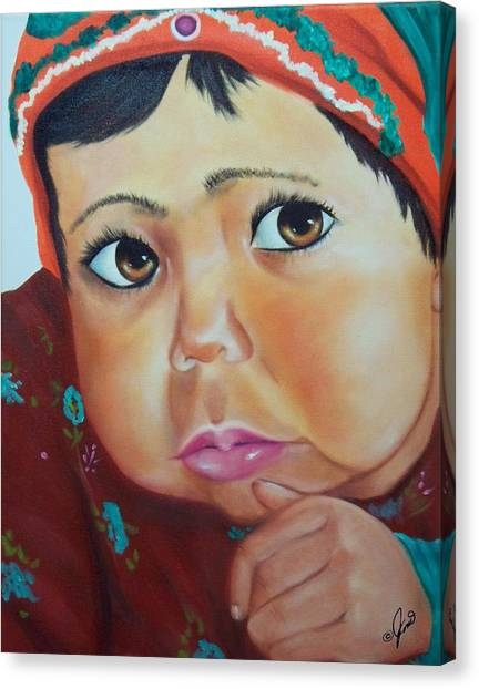 Child Of Afghanistan Canvas Print by Joni McPherson