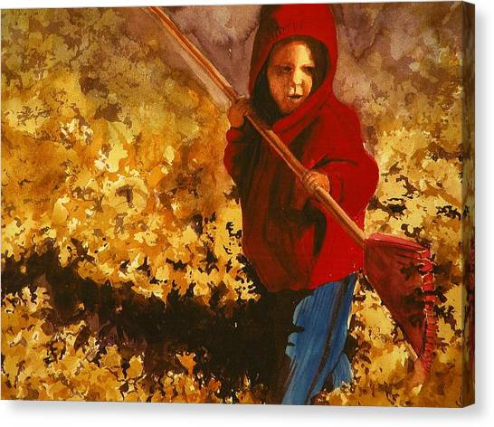 Child Raking Leaves Canvas Print by Walt Maes
