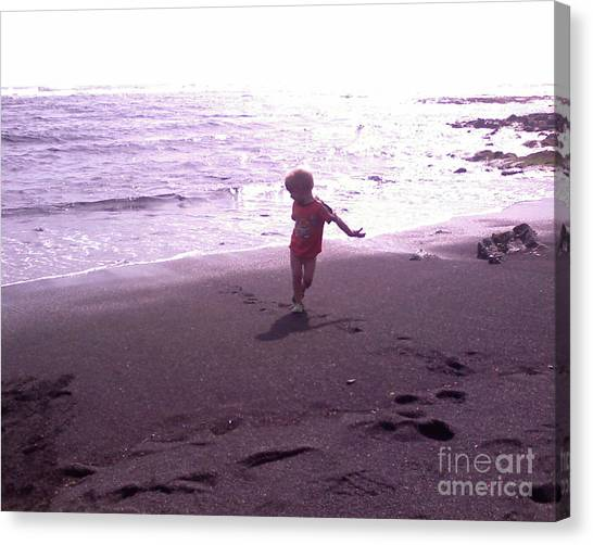 Child Running Black Sands Canvas Print by Sacred  Muse