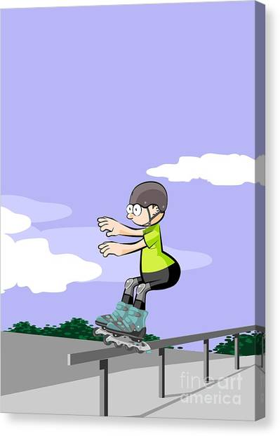 Skates Canvas Print - Child Sliding Down The Railing Of The Park Ramp With His Roller Skates On Line. by Daniel Ghioldi