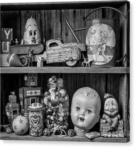 Dump Trucks Canvas Print - Childhood Toys On Old Shelf by Garry Gay