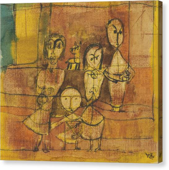 Children And Dog Canvas Print - Children And Dog by Paul Klee