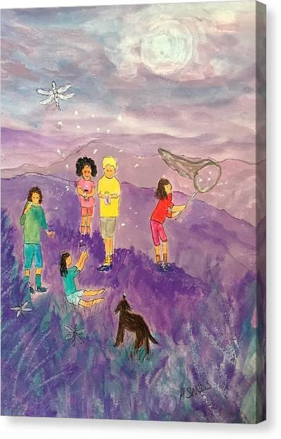 Children Catching Fireflies Canvas Print