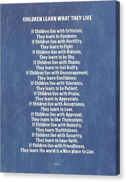 New Baby Canvas Print - Children Learn What They Live In Blue Jeans On Denim by Desiderata Gallery