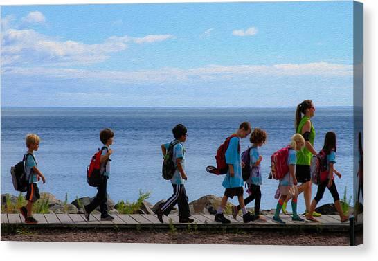 Children On Lake Walk Canvas Print