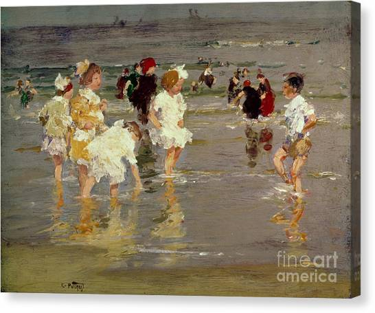 Impressionism Canvas Print - Children On The Beach by Edward Henry Potthast