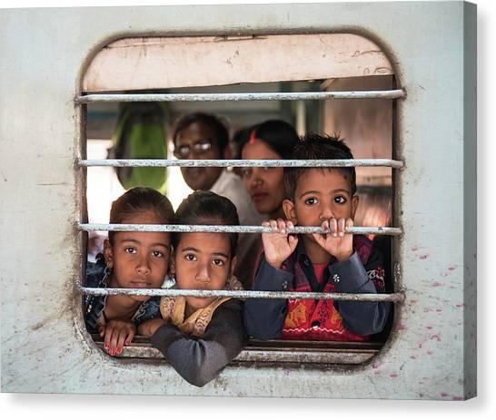 Children On The Train Canvas Print