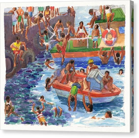 Children Playing At Avarua Wharf  Canvas Print