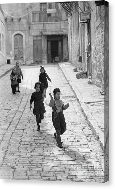 Israeli Canvas Print - Children Playing In Jerusalem, 1952 by The Harrington Collection