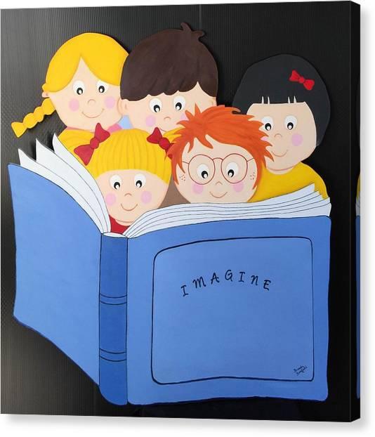 Children Reading Book Canvas Print