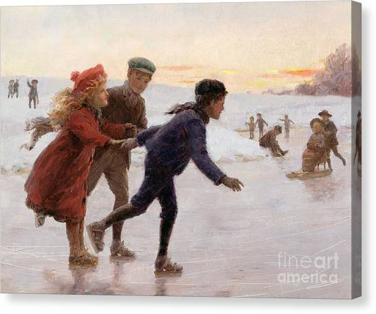Ice Skating Canvas Print - Children Skating by Percy Tarrant