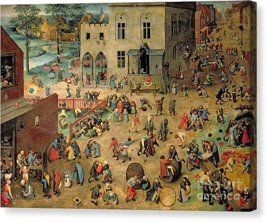 Saws Canvas Print - Children's Games by Pieter the Elder Bruegel