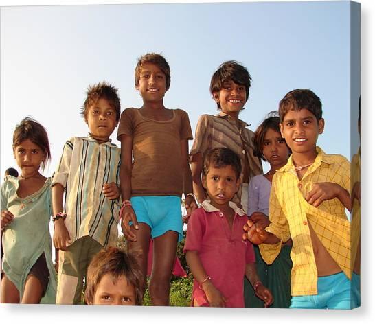 Childrens In Their Free Time At Village Enjoying Canvas Print by Sandeep Khanwalkar