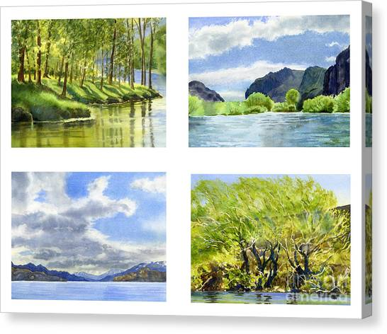 Chilean Canvas Print - Chilean Trees, Reflections, Mountain Cliffs by Sharon Freeman