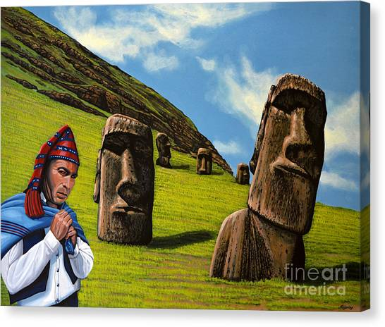 Easter Canvas Print - Chile Easter Island by Paul Meijering